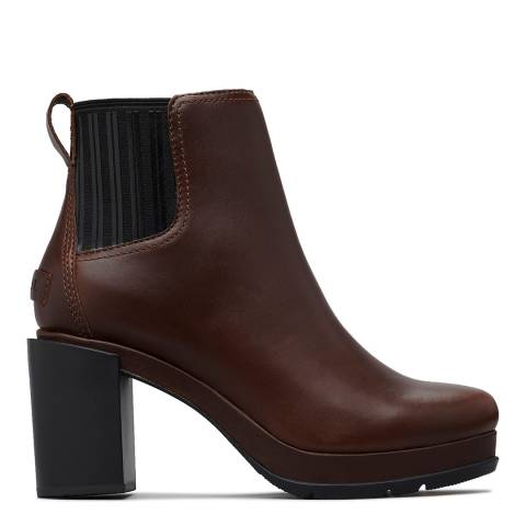 Sorel Chocolate Brown Leather Margo Heeled Chelsea Boots