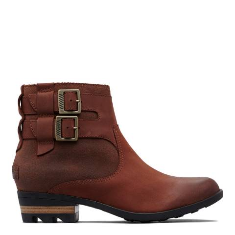 Sorel Red Leather Lolla Buckle Ankle Boots
