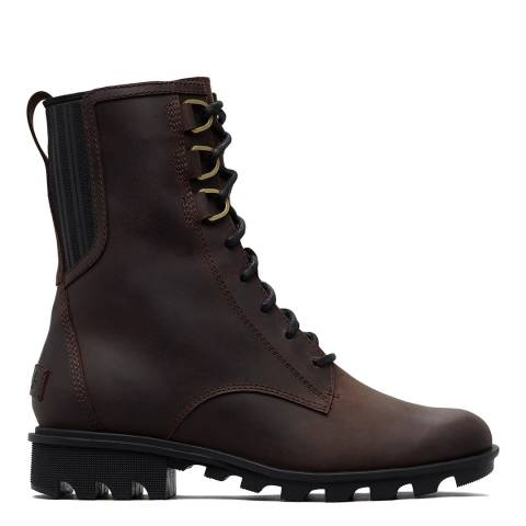 Sorel Brown Leather Phoenix Lace Up Ankle Boots