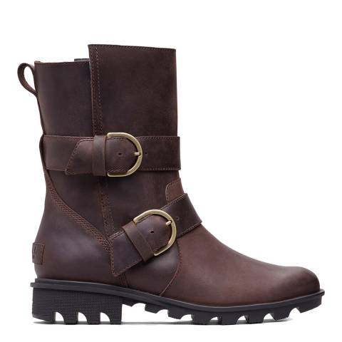 Sorel Dark Brown Leather Phoenix Moto Ankle Boots
