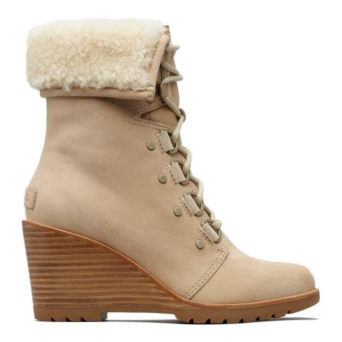 Sorel Oatmeal Leather After Hours Lace Up Shearling Boots