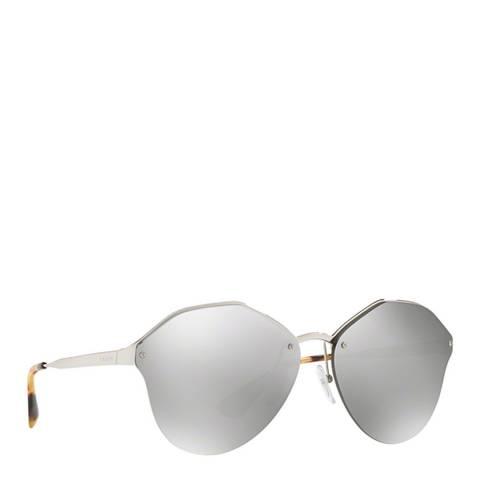 Prada Women's Silver / Grey Mirrored Prada Sunglasses 66mm