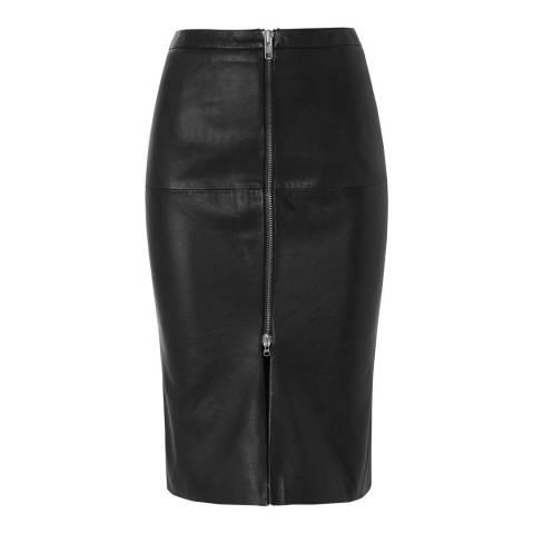 Muubaa Black Saon Leather Midi Skirt