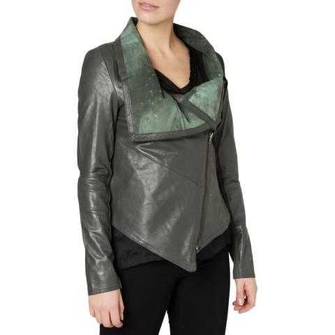 Muubaa Granite Sabina Drape Front Leather Jacket