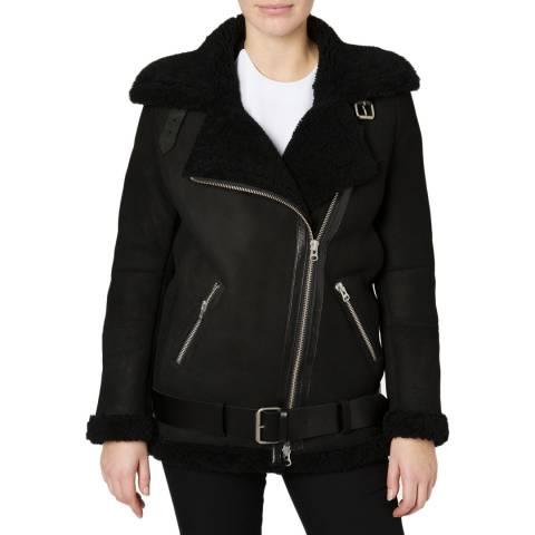 Muubaa Black Darma Shearling Aviator Jacket
