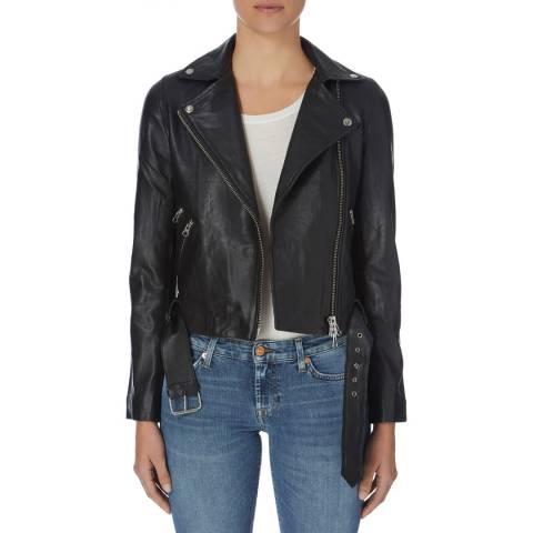 Muubaa Black Classic Belted Leather Biker Jacket