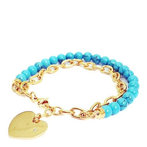 Liv Oliver Blue/Gold Pearl Stretch Bracelet 6-7mm