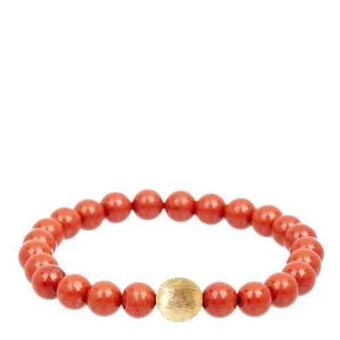 Liv Oliver 18K Matte Gold & Red Jasper Bracelet