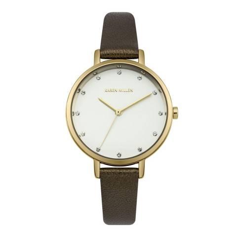 Karen Millen White/Brown Leather Strap Watch