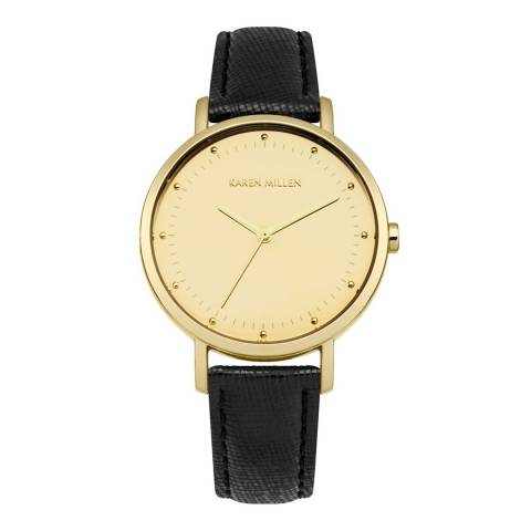 Karen Millen Gold/Black Leather Strap Watch
