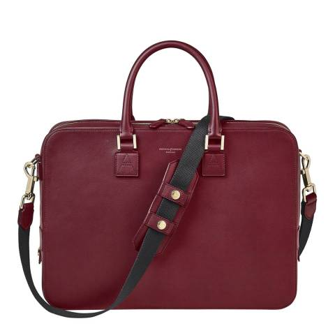 Aspinal of London Burgundy Smooth Mount Street Tech Small