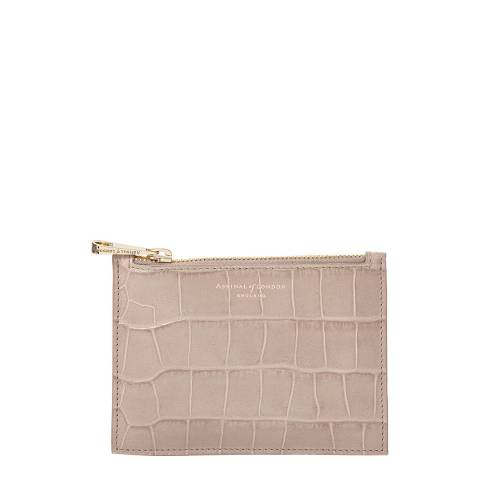 Aspinal of London Soft Taupe Croc Essential Flat Pouch Small