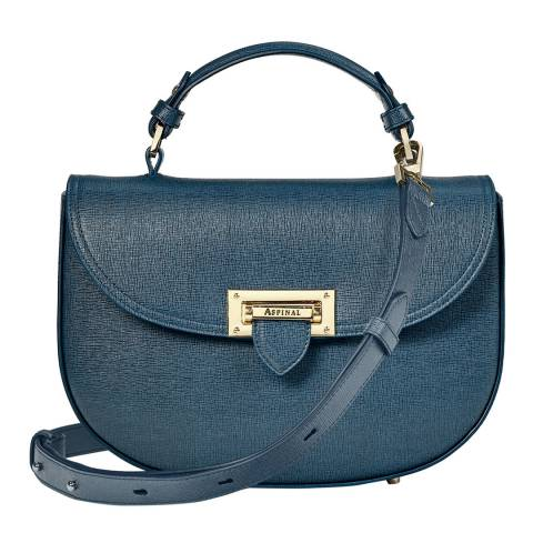 Aspinal of London Teal Saffiano Saddle Bag