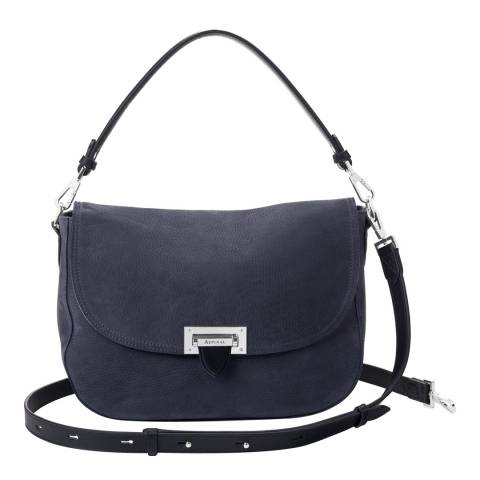 Aspinal of London Black Nubuck Slouchy Saddle Bag