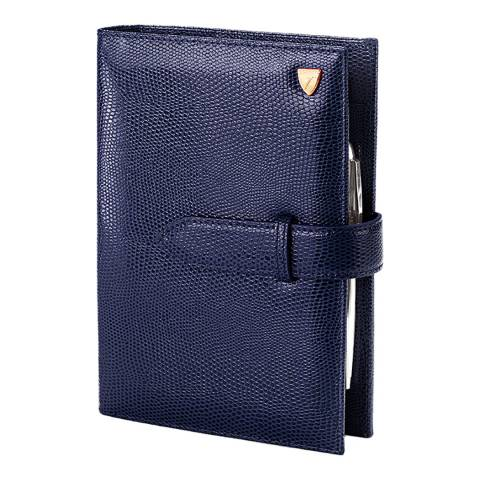 Aspinal of London Midnight Blue Lizard Compact Organiser Cover