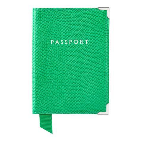 Aspinal of London Grass Green Lizard Cream Plain Passport Cover