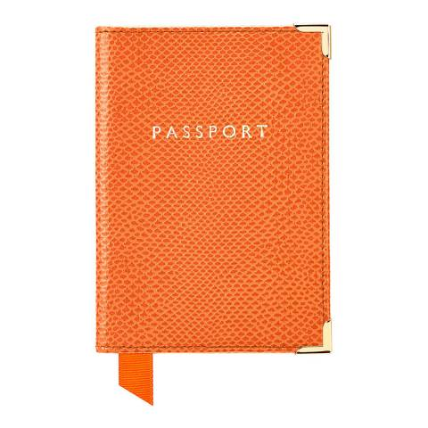Aspinal of London Orange Lizard Cream Plain Passport Cover