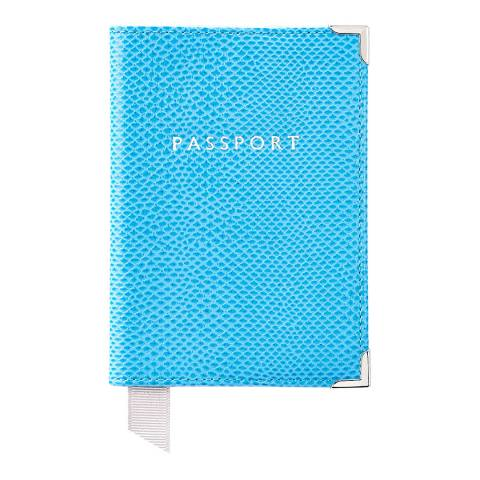 Aspinal of London Aquamarine Lizard Silver Plain Passport Cover