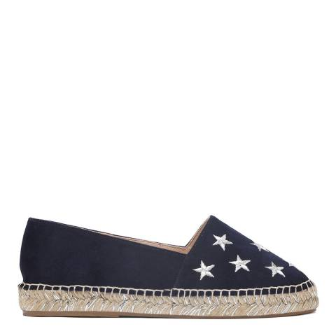 Laycuna London Navy Star Detail Suede Espadrilles