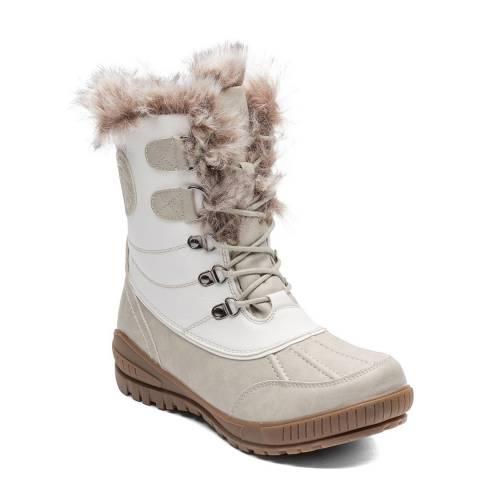 Kimberfeel White Sahra Faux Fur Cuff Winter Boots