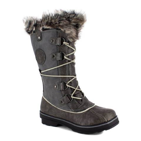 Kimberfeel Grey Manon Faux Fur Cuff Snow Boots