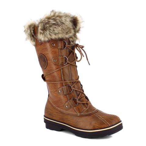Kimberfeel Brown Manon Faux Fur Cuff Snow Boots