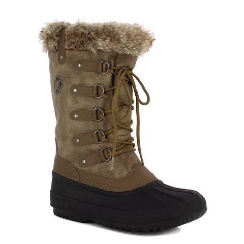 Kimberfeel Beige Aude Faux Fur Cuff Winter Boots
