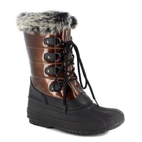 Kimberfeel Brown Marion Faux Fur Cuff Snow Boots