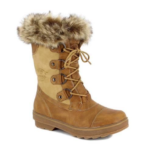 Kimberfeel Caramel Megeve Faux Fur Cuff Snow Boots