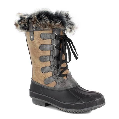 Kimberfeel Grey & Tan Candice Faux Fur Cuff Snow Boots