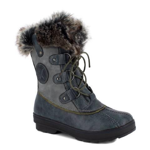 Kimberfeel Blue Chiara Faux Fur Cuff Snow Boots