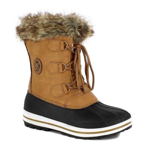 Kimberfeel Camel & Black Elisa Snow Boots