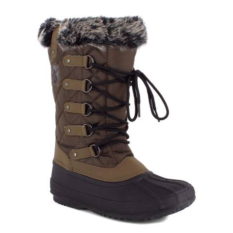Kimberfeel Brown Elsa Faux Fur Cuff Snow Boots