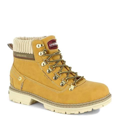 Kimberfeel Beige Jailys Classic Chunky Heel Hiker Boots