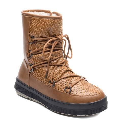 Kimberfeel Beige Kym Lined Lace Up Snow Boots