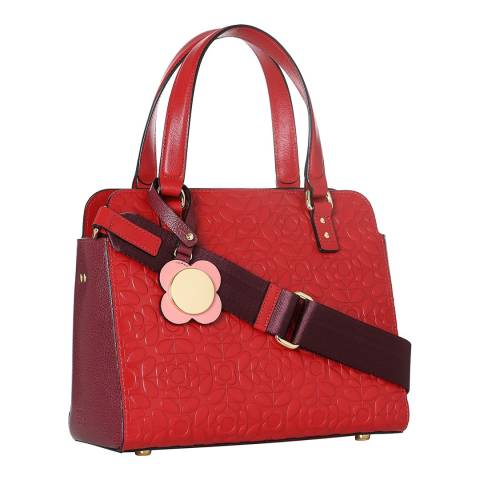 f6a2eef7bbd0d Lipstick Red Flower Stem Emboss Leather Jeanette Bag - BrandAlley