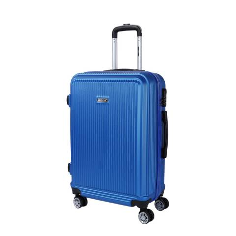 Bagstone Blue 8 Wheel Flower Suitcase 66cm