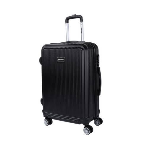 Bagstone Black 8 Wheel Flower Suitcase 66cm