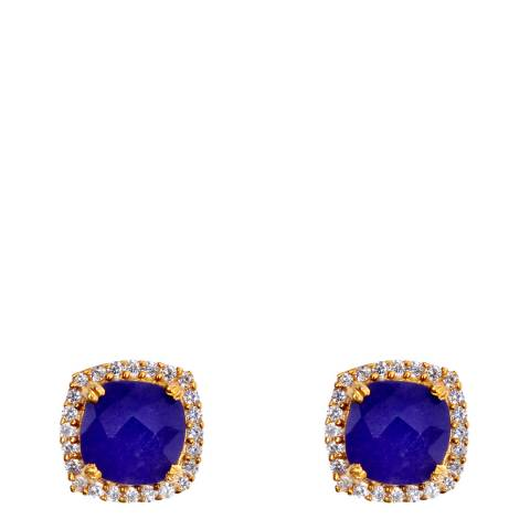 Liv Oliver Sapphire Halo Cushion Stud Earrings