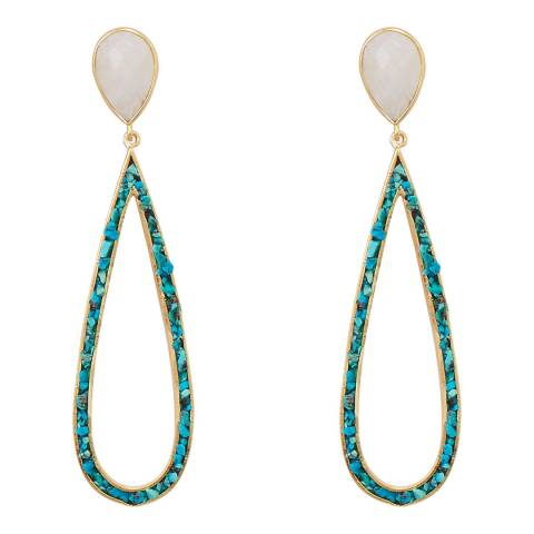 Liv Oliver 18k Gold Rainbow Moonstone and Turquoise Pear Drop Earrings