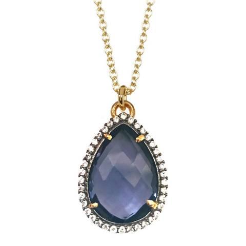 Liv Oliver Blue Quartz Pear Drop Necklace