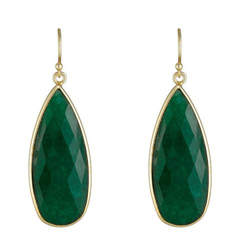 Liv Oliver 18K Gold Emerald Pear Drop Earrings