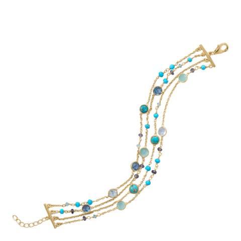 Liv Oliver Turquoise and Blue Topaz Gemstone Bracelet