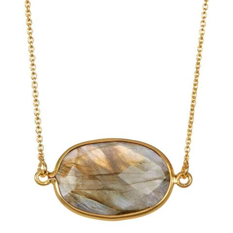 Liv Oliver Gold / Sea Labradorite Oval Necklace