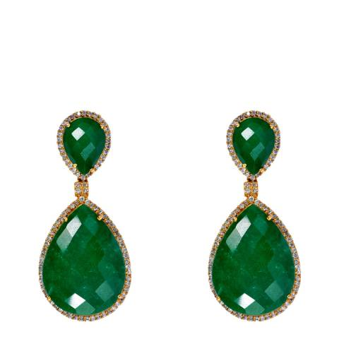 Liv Oliver Emerald Double Pear Drop Earrings