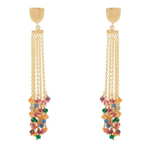 Liv Oliver Gold/Multi Gemstone Crsytal Earrings