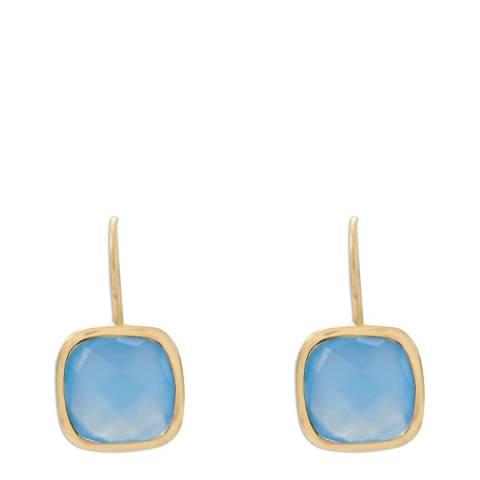 Liv Oliver 18K Gold Blue Chalcedony Cushion Cut earrings