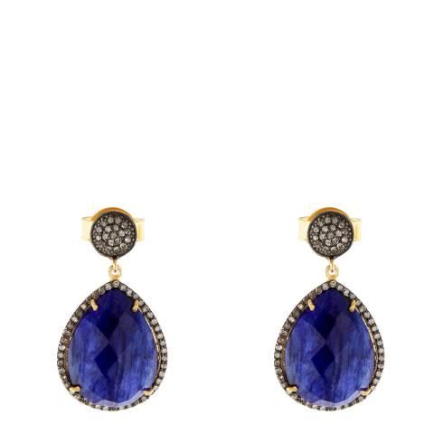 Liv Oliver 18k Gold Emerald Hoop Earrings