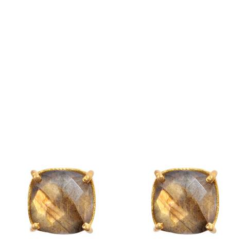 Liv Oliver 18k Gold Plated Labradorite Cushion Stud Earrings