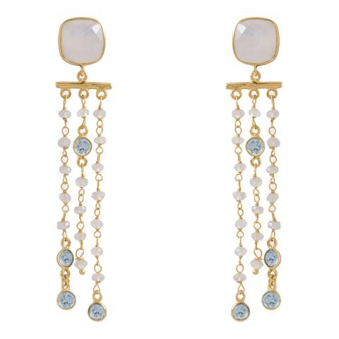 Liv Oliver Rainbow Moonstone and Blue Topaz Chandelier Earrings
